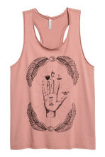 Printed vest top - Vintage pink - Ladies | H&M 1